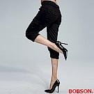 【BOBSON】女款貼袋休閒七分褲(黑87)