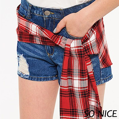 SO NICE俏麗紅格綁結牛仔短褲