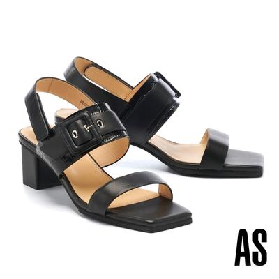 涼鞋 AS 簡約時髦異材質拼接全真皮後繫帶方頭高跟涼鞋-黑