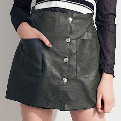 AIR SPACE LADY 雙口袋排釦皮質褲裙(綠)