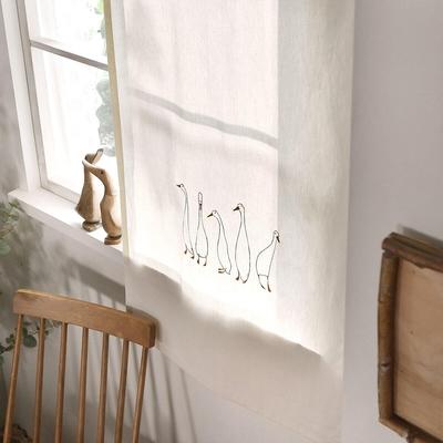 完美主義 鴨子家族刺繡掛簾-2入組/窗簾/簾子/韓國製-70x150cm
