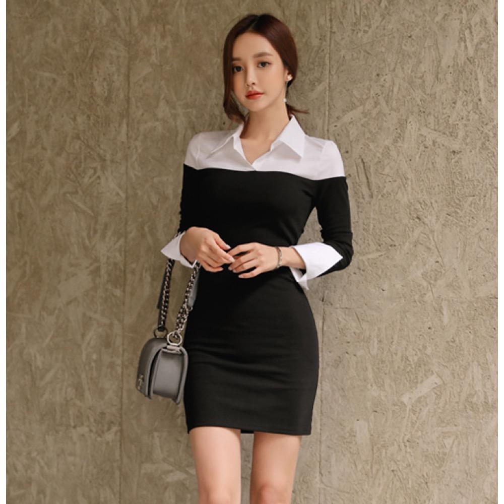 IMStyle  時尚翻領襯衫拼接洋裝(黑白)