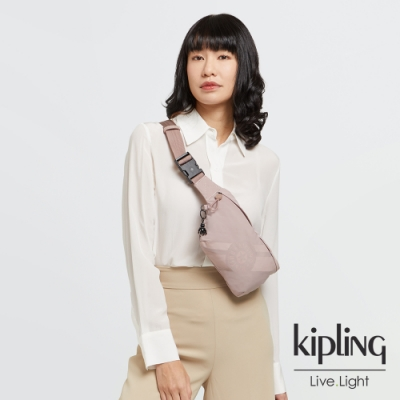 Kipling 奶茶裸粉色簡約方便隨身腰包-VASKO +