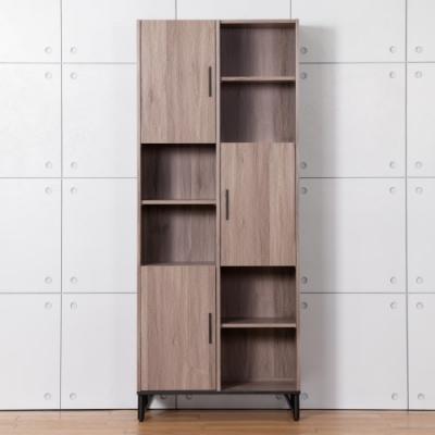D&T 德泰傢俱 BROOK淺胡桃木2.7尺左上門書櫃-80x40x200 cm