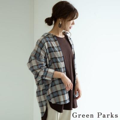 Green Parks 格紋略透造型襯衫上衣