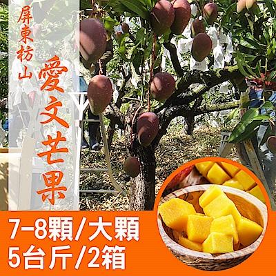 【產地直送】屏東枋山愛文芒果5台斤X2箱(7-8顆/箱)