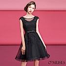 蕾絲V領刺繡短禮服-OMUSES