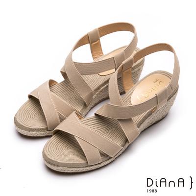 DIANA羅馬線條-質感交叉織帶楔型涼鞋-米