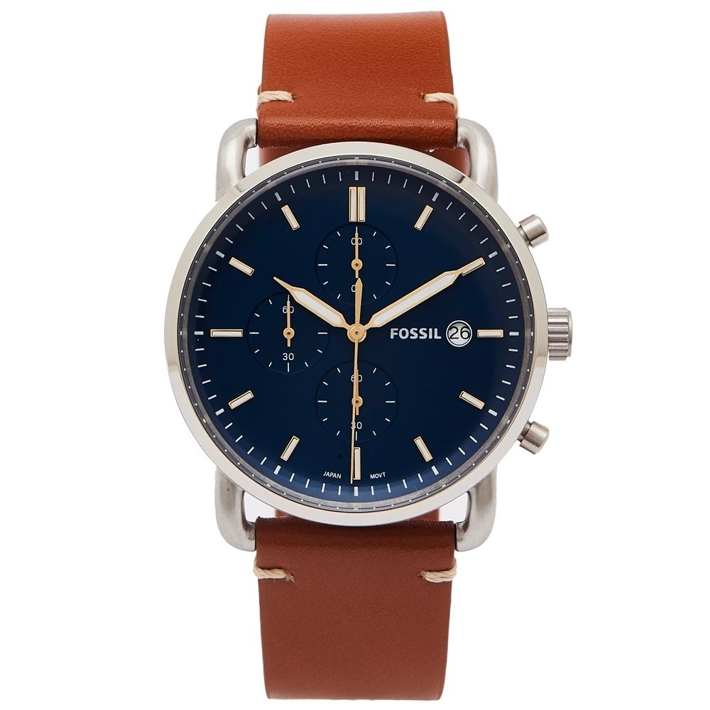 FOSSIL 簡約個性風計時手錶(FS5401)-藍色面x咖啡色/42mm