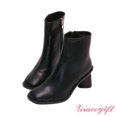 Grace gift-素面沿條造型中跟短靴 黑