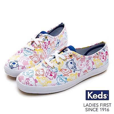 Keds x LITTLE MISS 繽紛印花綁帶休閒鞋-多彩