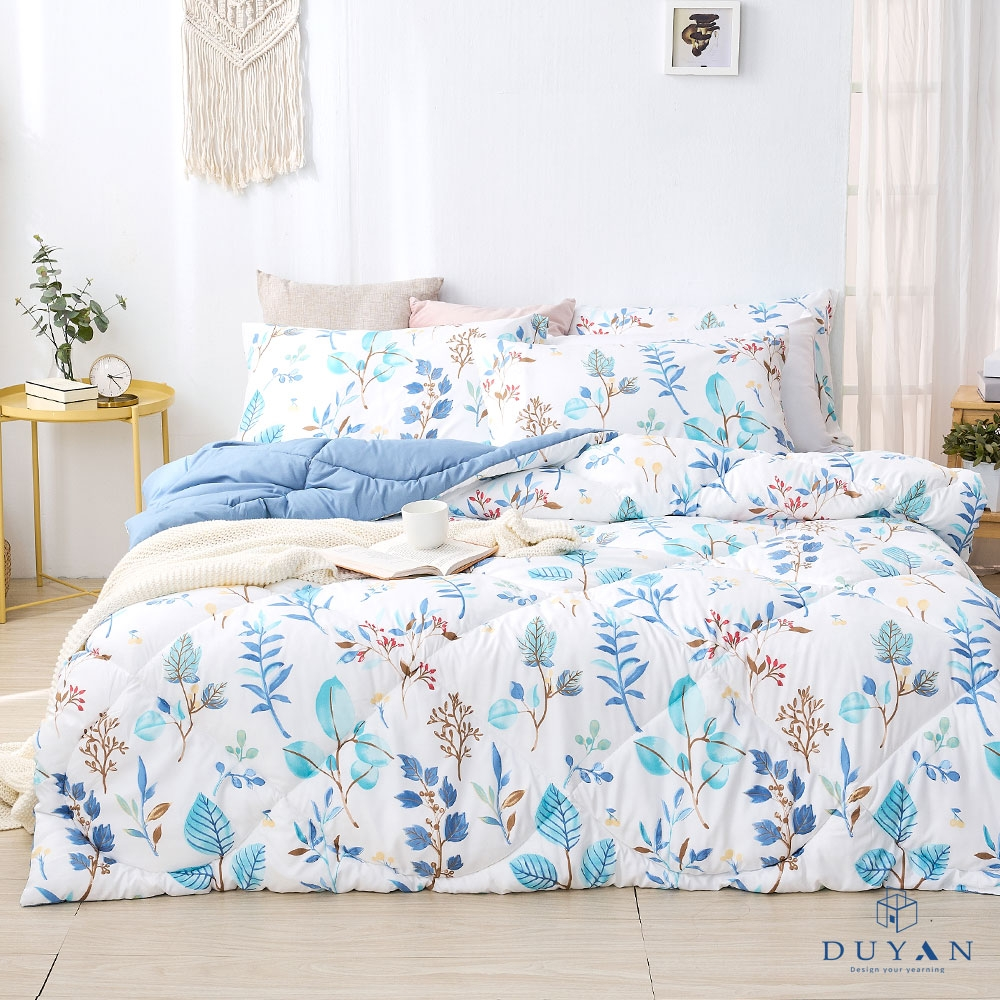 DUYAN竹漾-雙人加大床包組+可水洗羽絲絨被-藍凝冰花