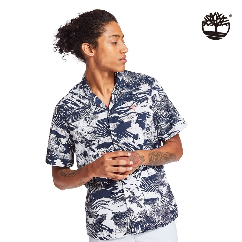 Timberland 男款深寶石藍夏日森林府綢短袖襯衫 A2BBD