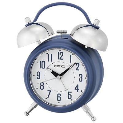 SEIKO 日本精工 滑動式秒針 靜音 響鈴貪睡鬧鐘(QHK051L)-藍/18X14cm
