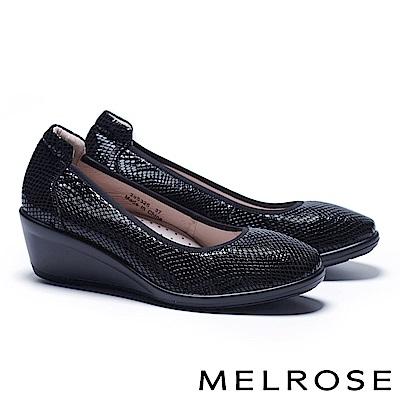 高跟鞋 MELROSE 百搭實穿壓紋牛皮微方頭楔型高跟鞋-黑