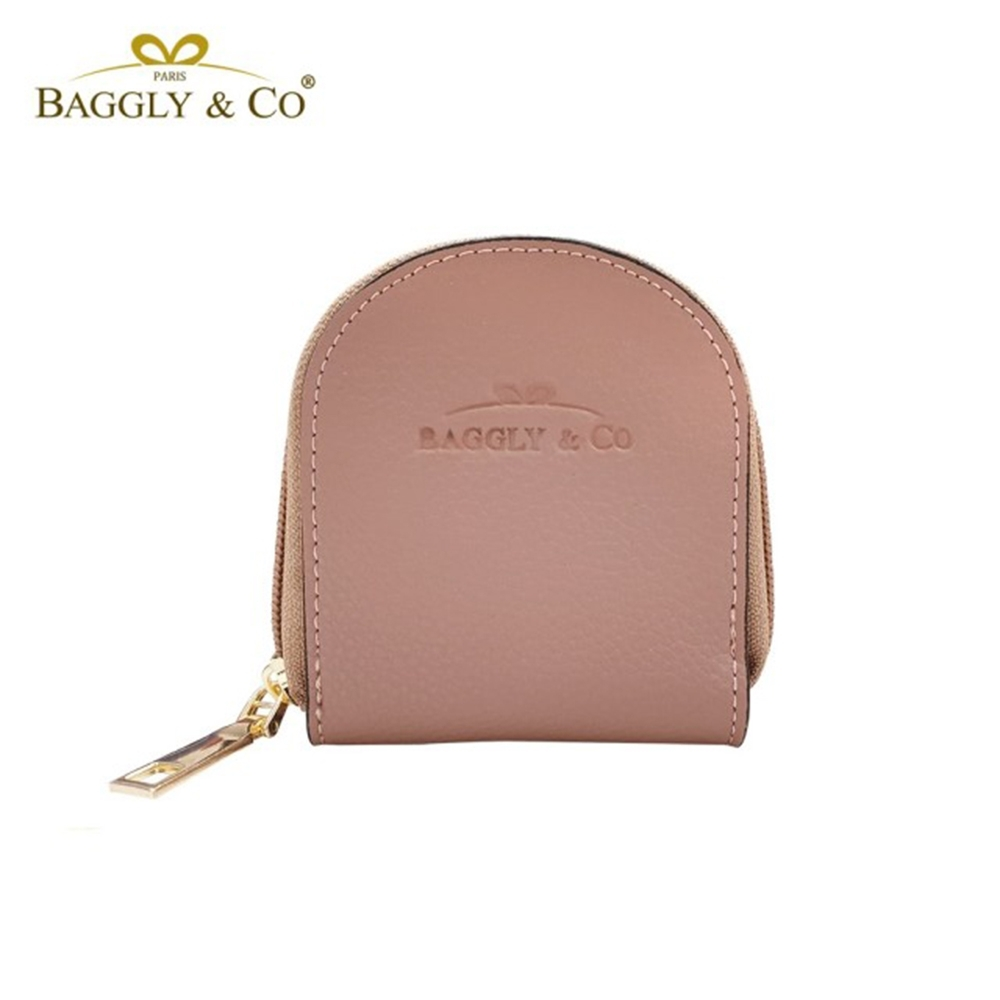 【BAGGLY&CO】質感真皮荔枝紋手工拉鍊馬蹄零錢包(四色) product image 1