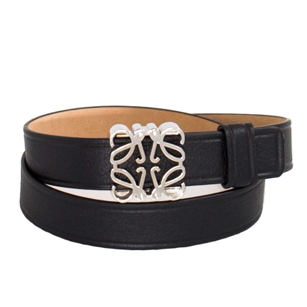 Loewe 經典雕花 小牛皮多圈手環 (黑色 x 銀色金屬) Anagram bracelet in calfskin Black/Palladium
