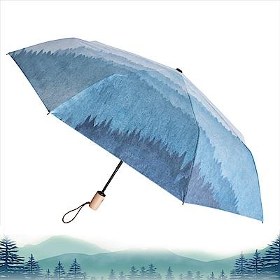 2mm 迷霧森林 高防曬零透光黑膠自動開收傘