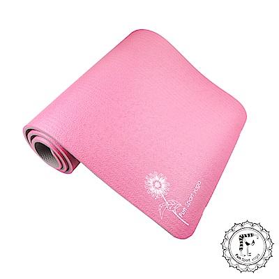 FunSport 微笑心花環保雙色瑜珈墊-12mm(灰紅)送背袋