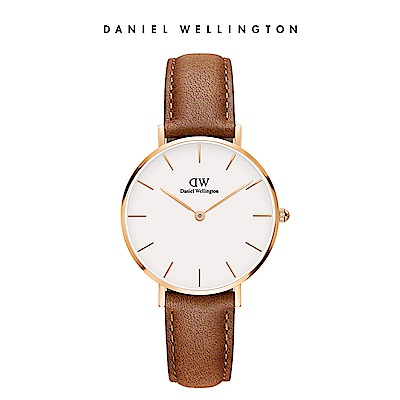 DW 手錶 官方旗艦店 32mm玫瑰金框 Petite 淺棕真皮皮革錶