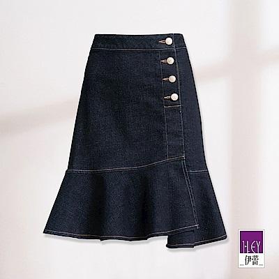 ILEY伊蕾 魚尾剪裁高彈力牛仔裙(藍)