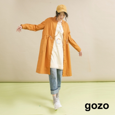 gozo 無領運動風抽繩風衣外套 (二色)