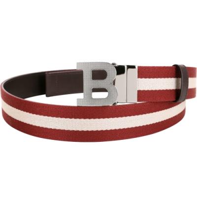 BALLY B BUCKLE 經典織紋雙面兩用皮帶(深咖啡色)