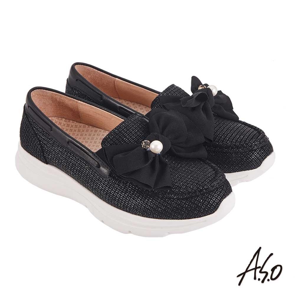 A.S.O 機能休閒 萬步健康鞋 蝴蝶結金箔皮料休閒鞋黑
