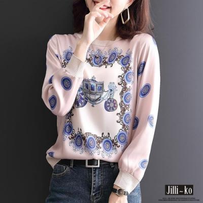 JILLI-KO 皇家馬車印花薄款T恤- 粉紅/黑
