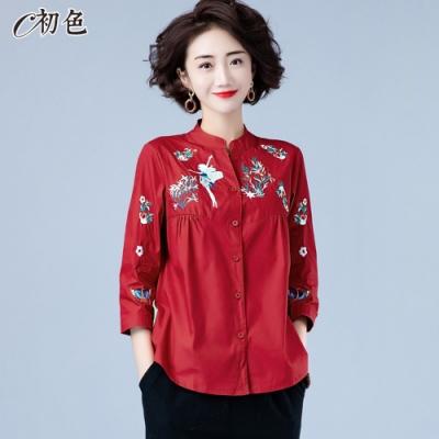 初色  刺繡立領七分袖襯衫-共3色-(M-2XL可選)