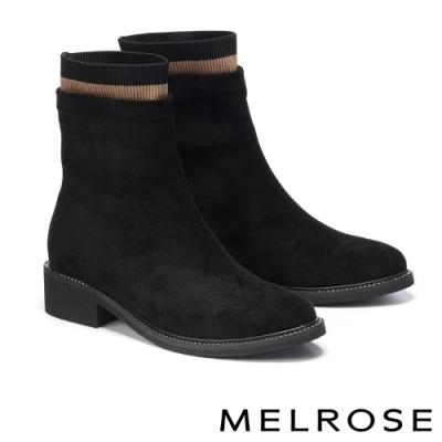 短靴 MELROSE 經典百搭簡約彈力麂布高跟短靴-黑