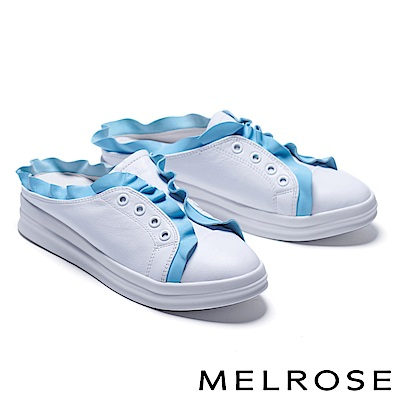 拖鞋 MELROSE 荷葉邊造型全真皮休閒厚底拖鞋-藍
