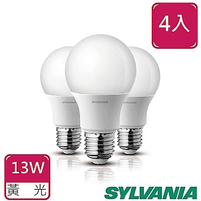 SYLVANIA喜萬年13W LED超亮廣角燈泡3000K全電壓4入-黃光
