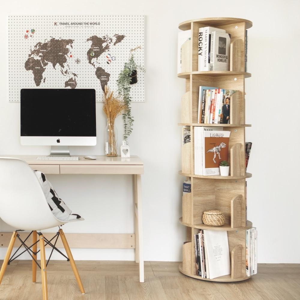 完美主義 360度旋轉直立式五層收納書櫃/書架/兒童書櫃(2色)