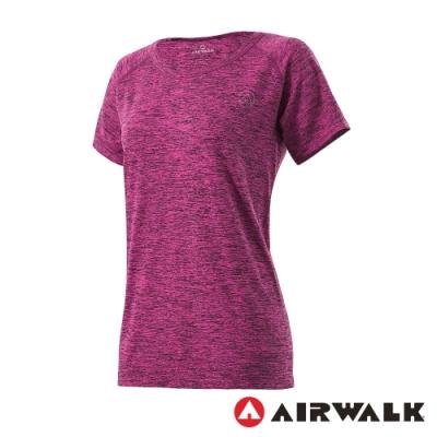 【AIRWALK】無縫設計吸排短T-女-紅