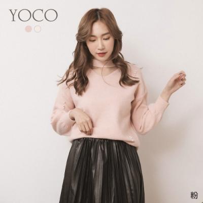 東京著衣-YOCO 戀戀甜美珍珠點綴V領毛衣(共二色)