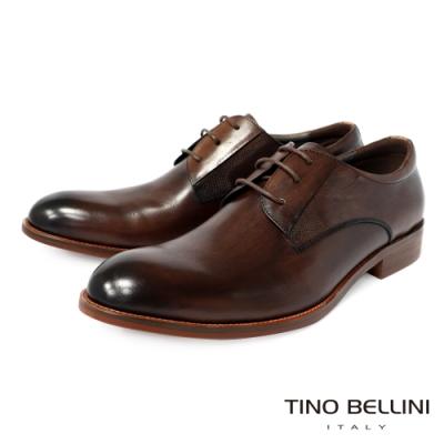 OTTO KERN 牛皮低調質感咖圓頭紳士綁帶鞋