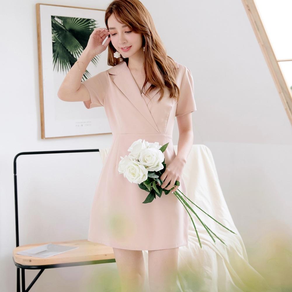 簡約感襯衫領純色合身雪紡洋裝-OB大尺碼