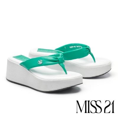 拖鞋 MISS 21 時髦復古超高堆疊層次羊皮人字厚底拖鞋-綠