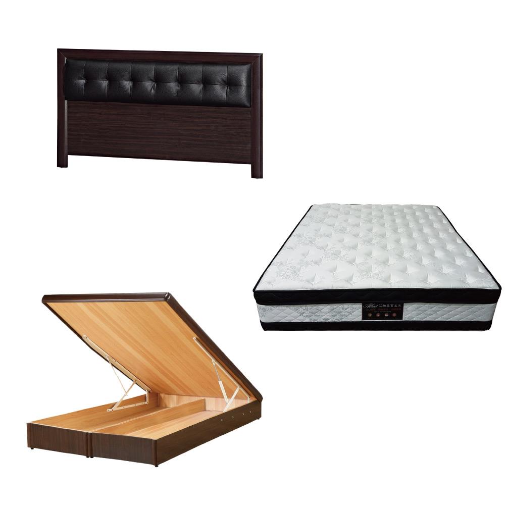 綠活居 亞多5尺雙人床台三式組合(床頭片+後掀床底+正四線涼感獨立筒床墊)五色可選
