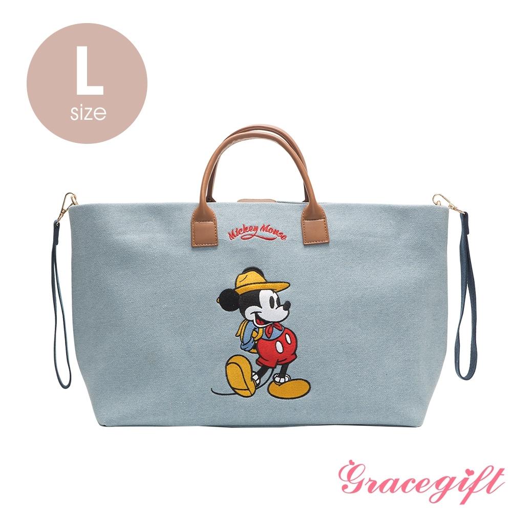 Disney collection by grace gift–唐葳設計迪士尼米奇露營2WAY帆布包L 單寧