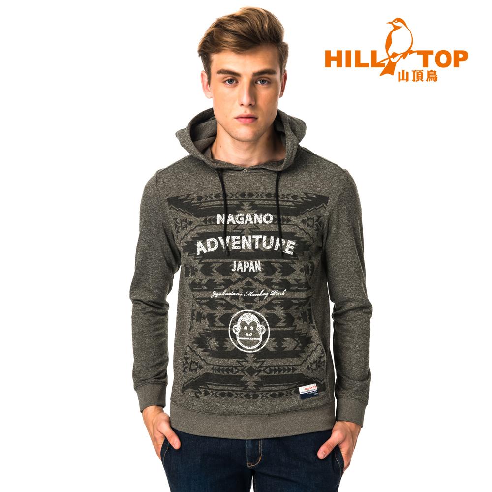 【hilltop山頂鳥】男款ZISOFIT吸溼快乾保暖刷毛上衣H51MH8黑橄欖