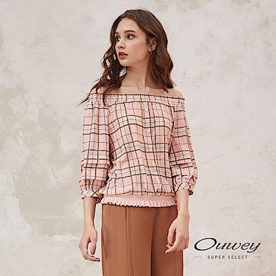 OUWEY歐薇 燈籠造型袖兩穿式格紋上衣(粉)