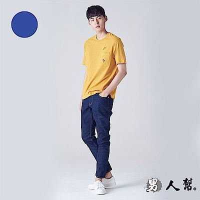 男人幫 K0361深藍美式黃車線單寧牛仔褲