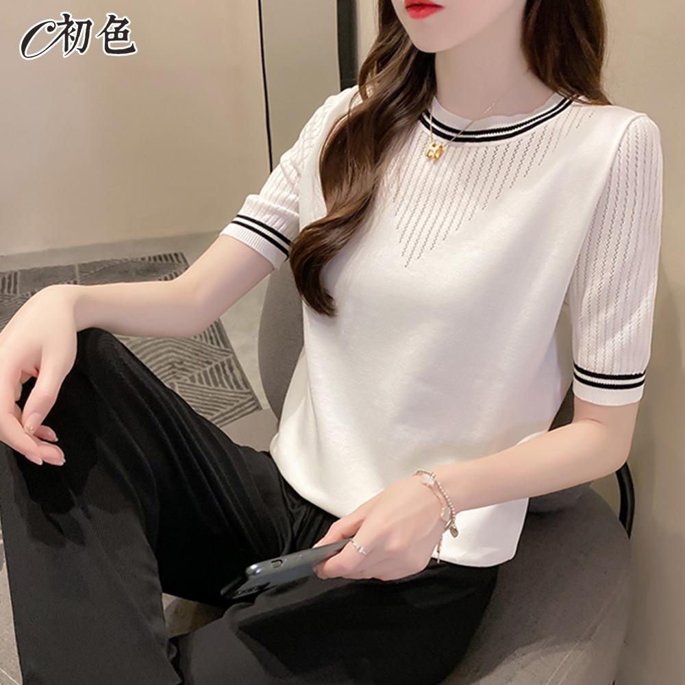 初色  氣質鏤空針織衫-共2色-(F可選)