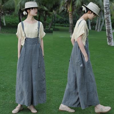 17支日本進口純亞麻背帶褲大碼寬管休閒-設計所在