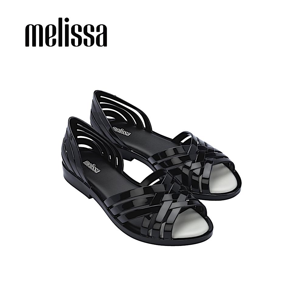 Melissa  FLORA  果凍感交叉設計涼鞋- 黑