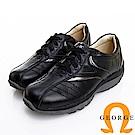 GEORGE 喬治皮鞋 氣墊系列 牛皮綁帶氣墊休閒鞋-黑色