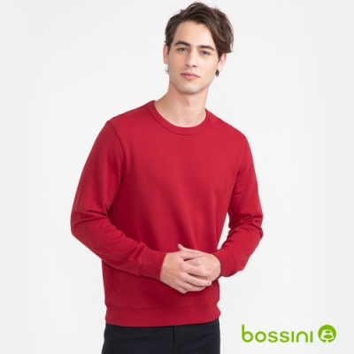 bossini男女同款-素色圓領厚棉T恤暗紅