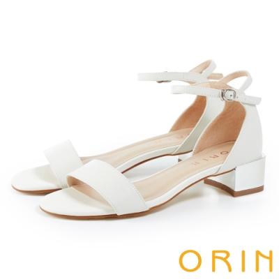ORIN 一字繫踝繞帶後包真皮粗跟 女 涼鞋 白色